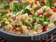 Ориз със задушени зеленчуци и гъби и соев сос на тиган или в тенджера